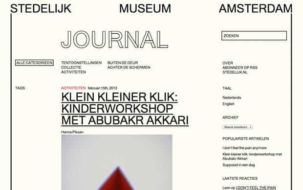 Website Stedelijk Museum journal - gebouwd door Tien Vijf